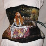 "Malowany underbust z repliką obrazu ""The Lady of Shalott"" Waterhouse'a"