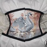 Delikate jacquard waspie with painted swan